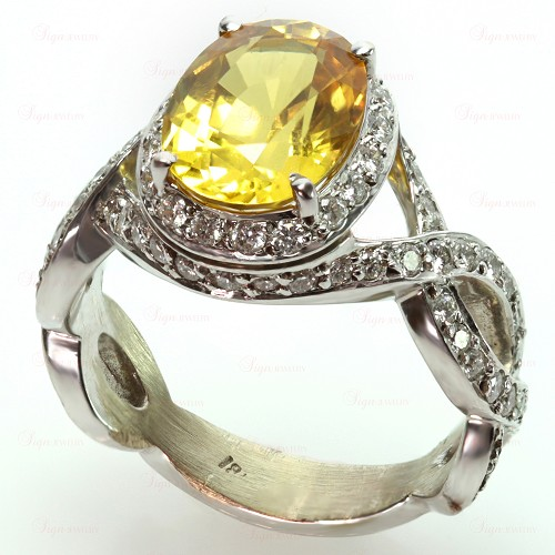 Diamond Oval Yellow Sapphire 18k White Gold Cocktail Ring
