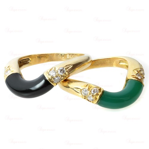 CARTIER Green Rhodohrosite & Black Onyx Dimond Stackable Rings Pair