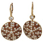 CRIVELLI 18k Yellow Gold Round White & Brown Diamond Disc-Shaped Earrings