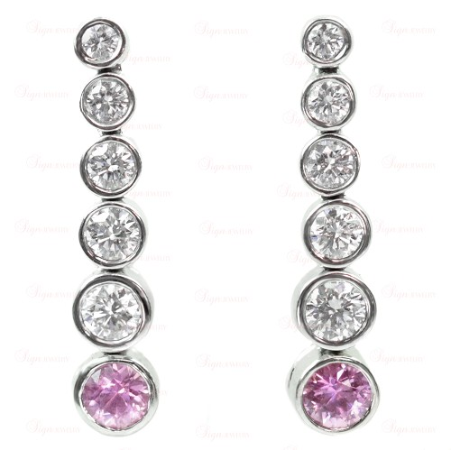 4f2ae10327b5e TIFFANY & CO. Jazz Platinum Diamond & Pink Sapphire Drop Earrings