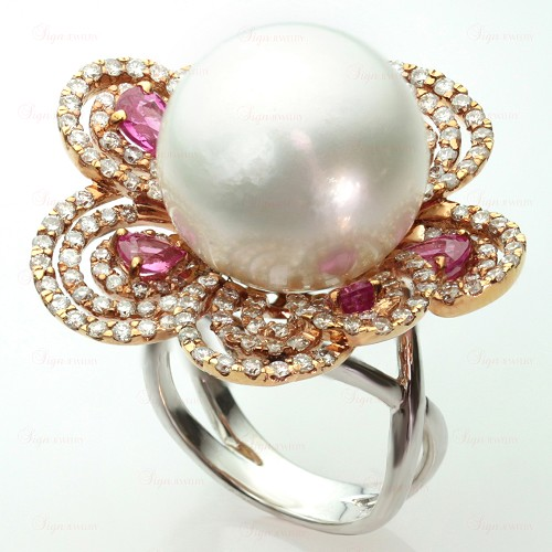 Diamond Pearl Pink Sapphire 18k White & Rose Gold Flower Ring