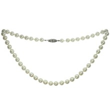 Cultured Pearl Strand 14k White Gold Clasp Necklace