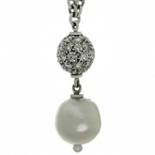 CHANTECLER Diamond South Sea Baroque Pearl Pendant 18k White Gold Necklace