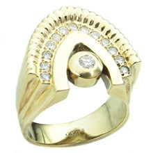 Diamond 14k Yellow Gold Arch Unisex Ring