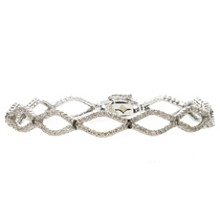 18k White Gold Diamond Marquise Link Bracelet