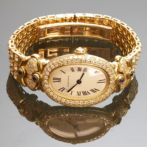 CARTIER Baignoire 18k Yellow Gold Diamond Watch Bracelet