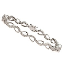 14k White Gold Diamond Open Link Tennis Bracelet
