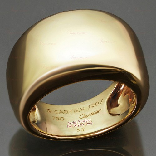 CARTIER 18k Yellow Gold Unisex Wide Dome Band