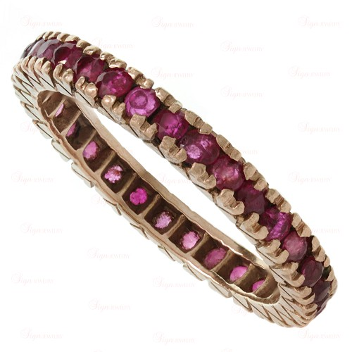 Ruby 14k Rose Gold Eternity Ring Guard Band