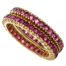Ruby 14 Rose Gold Eternity Ring Guards Band Pair