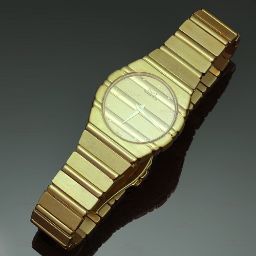 PIAGET Polo 18k Yellow Gold Womens Bracelet Watch with Deployment Buckle