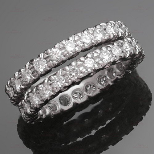 Diamond Platinum Guards Band Ring Pair