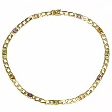 Multicolor Gemstone 14k Yellow Gold Curb Chain Necklace