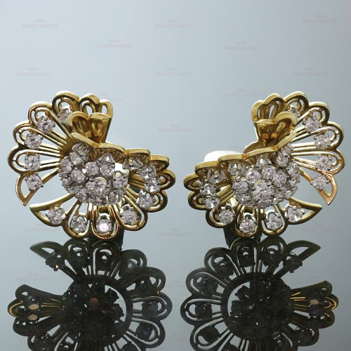VAN CLEEF & ARPELS Diamond 18k Gold Clip-on Earrings Brooches