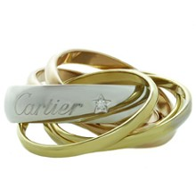 CARTIER Trinity La Belle Diamond 18k Tri-Gold 6-Band Ring