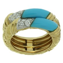 VAN CLEEF & ARPELS Diamond Turquoise 18k Yellow Gold Band Ring