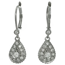Diamond 18k White Gold Dangle Drop Earrings