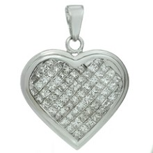 Diamond 14k White Gold Heart-Shaped Charm Pendant