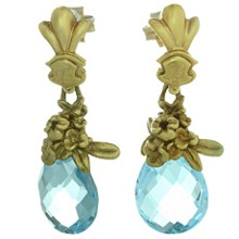 Blue Topaz Briolette 14k Yellow Gold Floral Drop Earrings