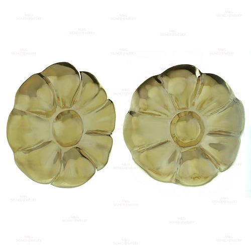 Italian 14k Yellow Gold Flower Button Earrings