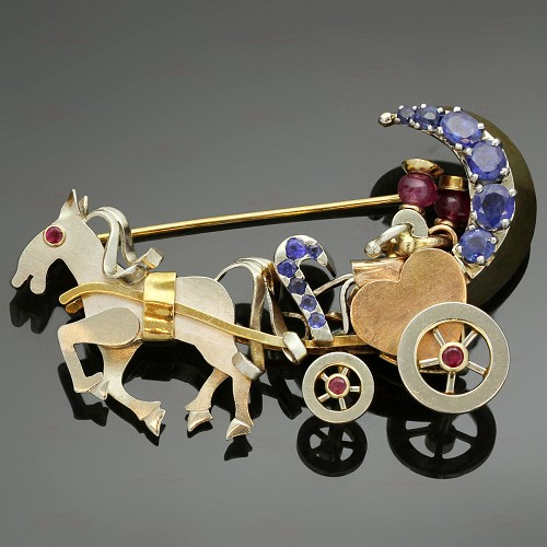 Ruby Sapphire 14k Tri-Color Gold Couple in Movable Horse Carriage Brooch