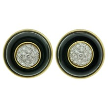 TIFFANY & CO. Diamond Black Onyx 18k Yellow Gold Clip-on Earrings