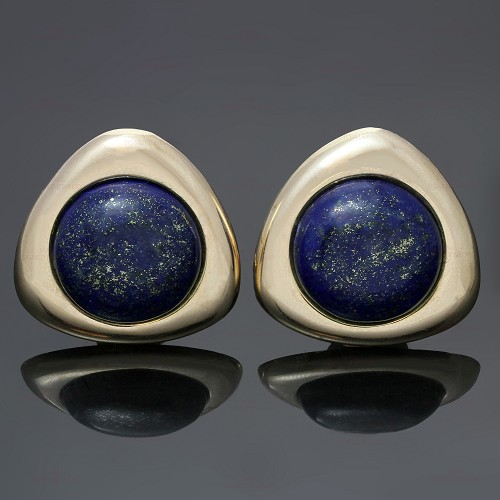 Vintage Lapis Lazuli 14k Yellow Gold Earrings