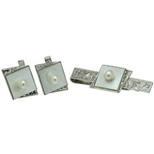 Pearl Mother-of-Pearl Sterling Silver Cufflinks & Tie Clip Set