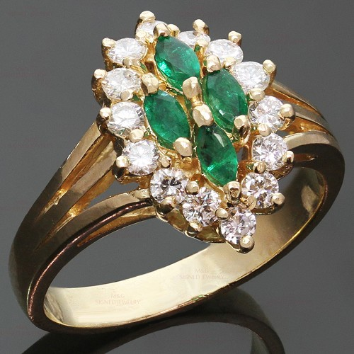 Diamond Marquise Emerald 14k Yellow Gold Ring
