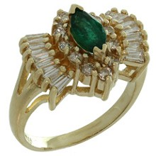 Vintage Diamond Marquise Emerald 14k Yellow Gold Ring