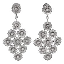 TIFFANY & CO. Rose Collection Diamond Platinum Drop Earrings