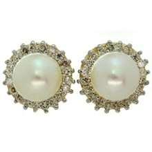 Pearl Diamond 14k Yellow Gold Stud Earrings