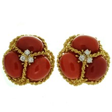 Italian Natural Oxblood Coral Diamond 18k Yellow Gold Earrings