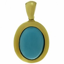 Oval Turquoise 18k Yellow Gold Pendant