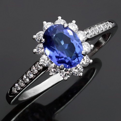 TIFFANY & CO. Genuine Tanzanite Diamond Platinum Ring