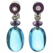 BVLGARI Sassi Multicolor Gemstone 18k White Gold Earrings