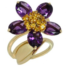 VAN CLEEF & ARPELS Hawaii Amethyst Orange Sapphire 18k Yellow Gold Ring