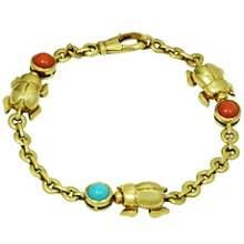CARTIER Three Beetle Coral Turqoise 18k Yellow Gold Bracelet