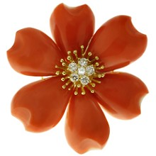 Natural Red Coral Diamond 18k Yellow Gold Flower Brooch Pendant