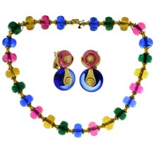 MARINA BULGARI Cimin Multicolor Gemstone 18k Yellow Gold Necklace & Earrings Set