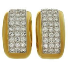 DAVID WEBB Diamond Platinum 18k Yellow Gold Clip-on Earrings