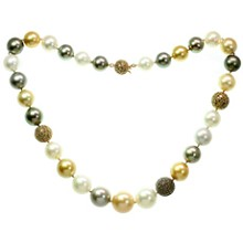 South Sea Multicolor Pearl Champagne Diamond 18k Rose Gold Necklace
