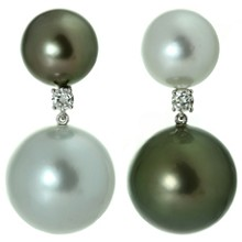 South Sea Tahitian Double Pearl Diamond 18k White Gold Earrings
