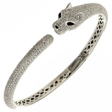 Diamond Onyx 18k White Gold Panther Bangle Bracelet