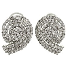 Cubic Zirconia 14k White Gold Swirl Earrings