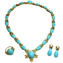Turquoise Diamond 18k Yellow Gold Detachable Brooch Necklace Ring & Earrings Set