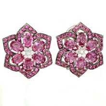 Couture Designer Diamond Pink Sapphire 18k White Gold Flower Earrings