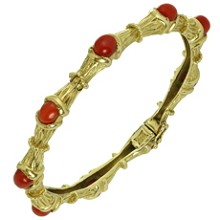 TIFFANY & CO. 18k Oxblood Coral Gold Bamboo 1960s Bangle Bracelet