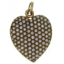 Antique Double Sided Pave Seed Pearl 14k Yellow Gold Heart Locket Pendant