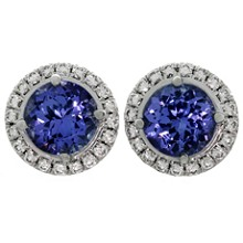 TIFFANY & CO. Seleste Tanzanite Diamond Platinum Stud Earrings